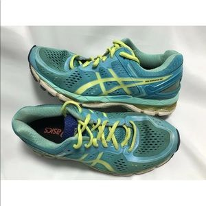 Asics Gel-Kayano 22 8.5 Running Shoes Blue Yellow